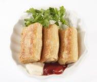 Pannekoeken met vlees op een plaat Royalty-vrije Stock Fotografie