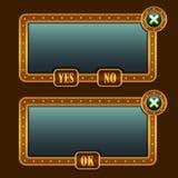 Pannelli dell'interfaccia a menu dello steampunk del gioco Fotografia Stock Libera da Diritti