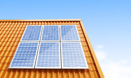 Pannelli solari del tetto Fotografia Stock Libera da Diritti