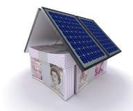 Pannelli solari e casa dei soldi illustrazione di stock