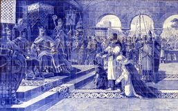 Pannello antico delle mattonelle – Oporto, Portogallo Immagine Stock