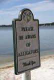 Pannello d'avvertimento dell'alligatore Immagine Stock Libera da Diritti