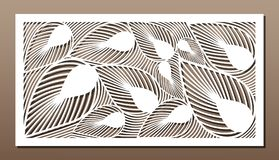 Pannello decorativo per il taglio del laser Progettazione della siluetta di arte 1:2 di rapporto Fotografia Stock Libera da Diritti