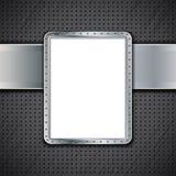 Pannello del metallo su fondo metallico scuro Fotografie Stock Libere da Diritti