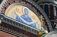 Pannello del mosaico alla cattedrale dell'annuncio di vergine Maria benedetto immagine stock