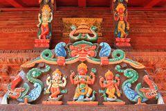 Pannello dell'entrata del santuario di Shree Kumari a Kathmandu, Nepal Fotografia Stock