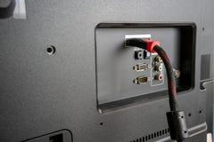 Pannello dell'ingresso/uscita sul retro di una televisione LED/LCD fotografie stock