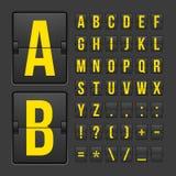 Pannello di alfabeto delle lettere e di simboli del tabellone segnapunti Fotografie Stock