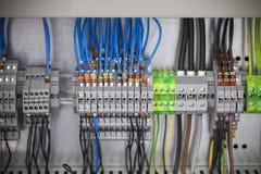 Pannello di controllo, assemblaggi cavi immagine stock libera da diritti
