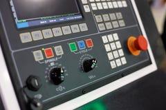 Pannello di controllo di CNC della macchina moderna del tornio Fotografia Stock