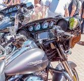 Pannello di controllo del motociclo Harley Davidson ad una mostra di vecchie automobili nella città di Karmiel Immagine Stock Libera da Diritti