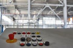 Pannello di controllo industriale moderno con i bottoni Fotografie Stock Libere da Diritti