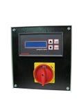 Pannello di controllo nero della manopola isolato, interruttore rosso Fotografia Stock Libera da Diritti