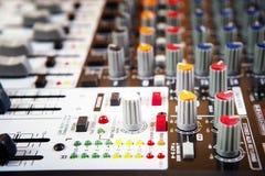 Pannello di controllo sano del miscelatore di musica Fotografie Stock