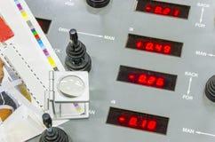 Pannello di controllo stabilito della stampa della stampa della macchina da stampa offset di web Fotografia Stock