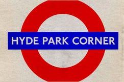 Pannello di Hyde Park Corner Fotografie Stock