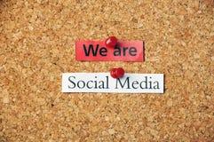 Pannello di sughero sociale di media Fotografie Stock