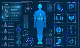 Pannello diagnostico umano di tecnologia dell'ente virtuale di sanità medica ciao, ricerca della medicina illustrazione di stock