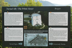 Pannello informativo turistico della torre bianca Fotografia Stock