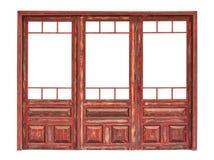 Pannello lustrato di legno di una parte anteriore del deposito isolata Fotografie Stock Libere da Diritti