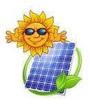 Pannello solare con il sole del fumetto Fotografia Stock