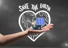 pannello solare e terra a disposizione Fondo nero della parete con i graffiti della terra di risparmi illustrazione di stock