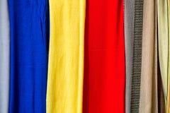 Panni e sete colorati dal Marocco Fotografie Stock