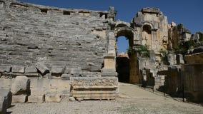 The panning of ancient amphitheater in Myra. Turkey stock video