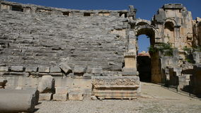 The panning of ancient amphitheater in Myra stock video footage