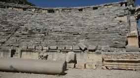 The panning of ancient amphitheater in Myra. Turkey stock video footage