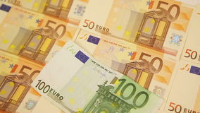 Panning around euro cash Royalty Free Stock Images
