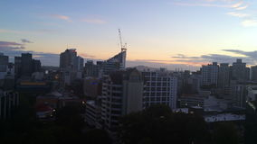 Panning of Auckland New Zealand Skyline at sunrise stock footage