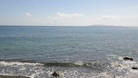 Panning the beach at luxury hotel. Crete, Greece stock video