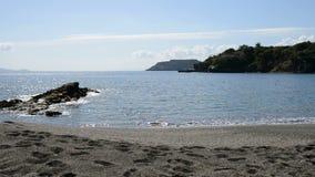Panning the beach at luxury hotel. Crete, Greece stock footage