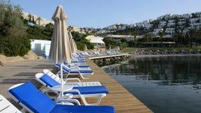 Panning the beach on Turkish resort. Bodrum, Turkey stock footage