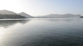Panning the beach on Turkish resort stock video footage