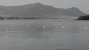 Panning the beach on Turkish resort. Bodrum, Turkey stock video footage