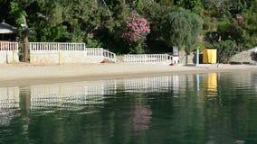 Panning the beach on Turkish resort. Fethiye, Turkey stock footage