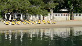 Panning the beach on Turkish resort. Fethiye, Turkey stock video footage