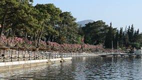 Panning the beach on Turkish resort stock video
