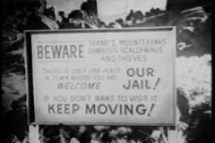 Panning Beware Keep Moving sign stock footage