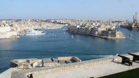 The panning of Birgu and yacht marina. Birgu, Malta stock video