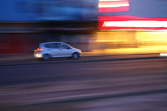 Panning car. Weekend night scene in Blackpool Royalty Free Stock Photos
