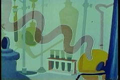 Panning cartoon of a science laboratory stock footage