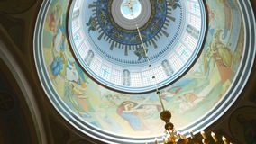 Panning of ceiling of orthodox the Cathedral of the Redeemer.  stock video footage