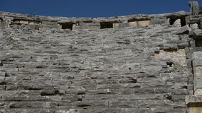 The panning down of ancient amphitheater in Myra. Turkey stock footage