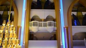 Panning down of lobby decoration in the luxury hotel. In night illumination, Antalya, Turkey stock video footage