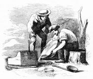 Panning for gold in California. Engraving of two prospectors panning for gold in California. From an original engraving in the Harper`s Story Books by Jacob stock illustration