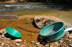 Panning for gold with a sluice box Stock Photos