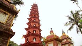 Panning,Hanoi,Vietnam,Tran Quoc Temple Pagoda. Day time stock footage